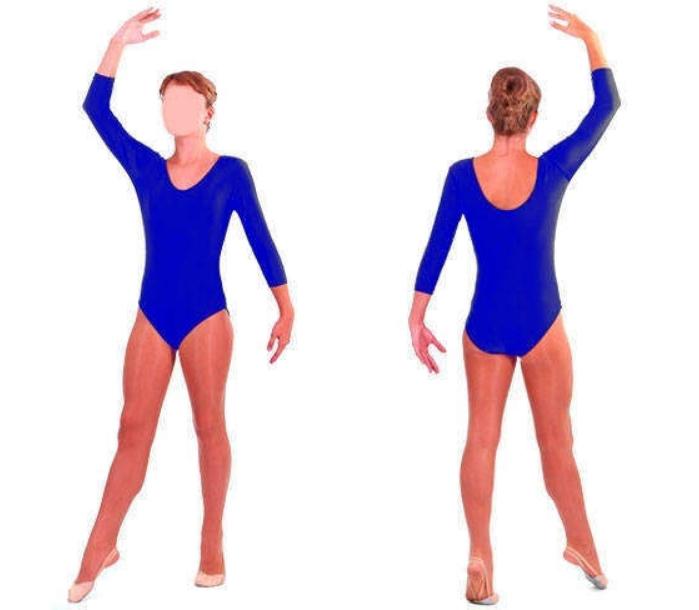 Купальник для художественной гимнастики синий М (30-32)