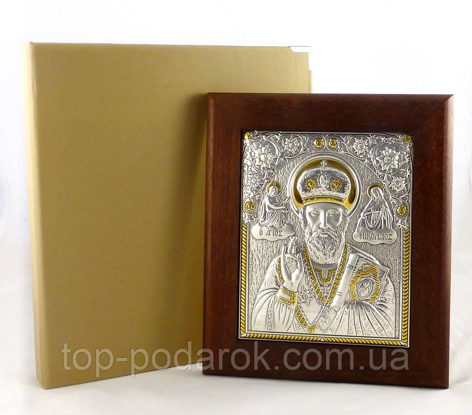 Икона Святой Николай в деревянной рамке в шкатулке
