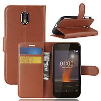 Чехол Nokia 1 книжка PU-Кожа коричневый