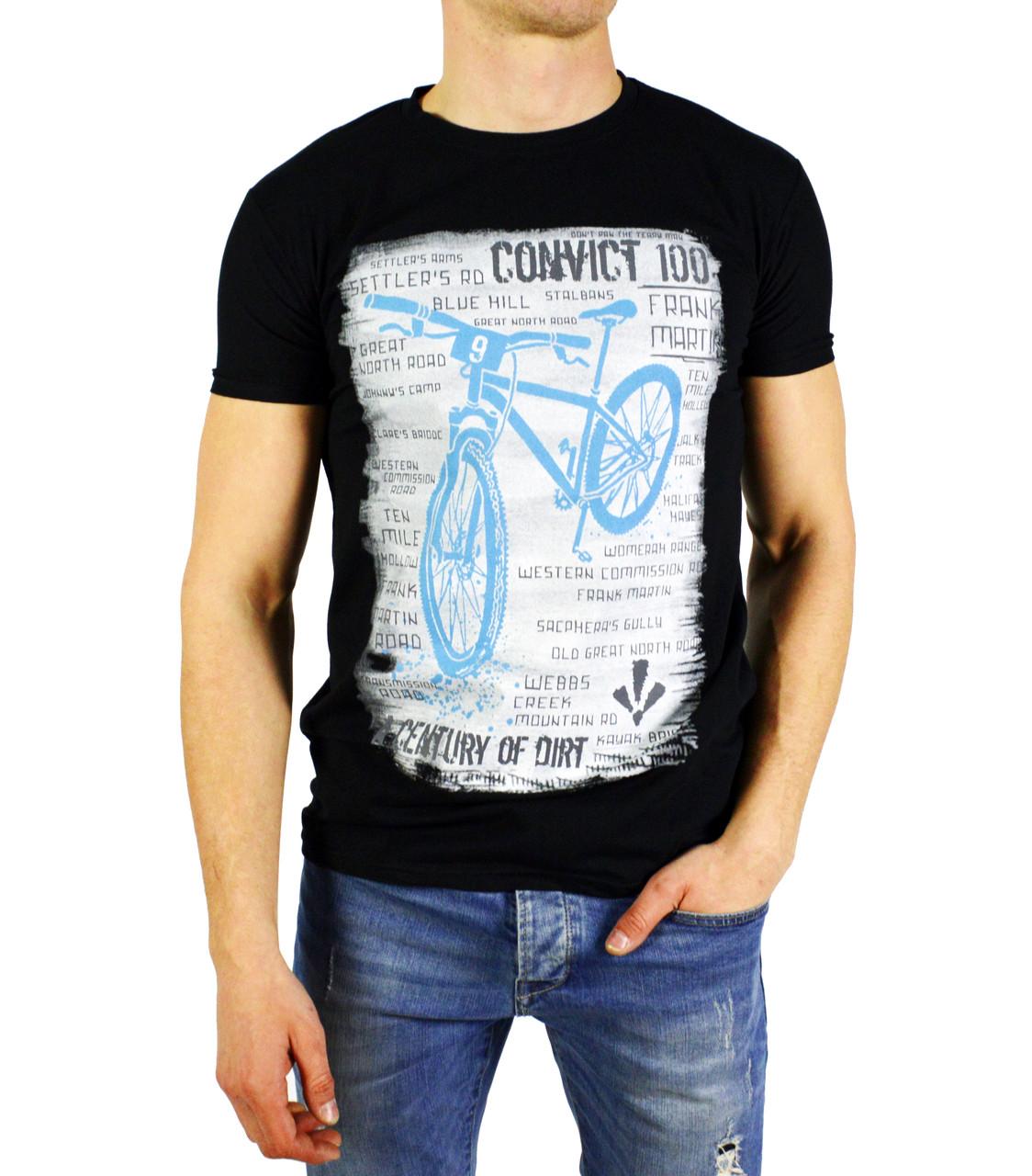 Черная мужская футболка с рисунком FRANK MARTIN на лето