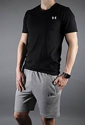 Мужской комплект футболка + шорты Under Armour черного и серого цвета (люкс копия)