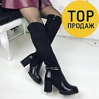 9da9be24ca49 Женские зимние сапоги на высоком каблуке, черного цвета   сапоги женские с  ремешками, удобные