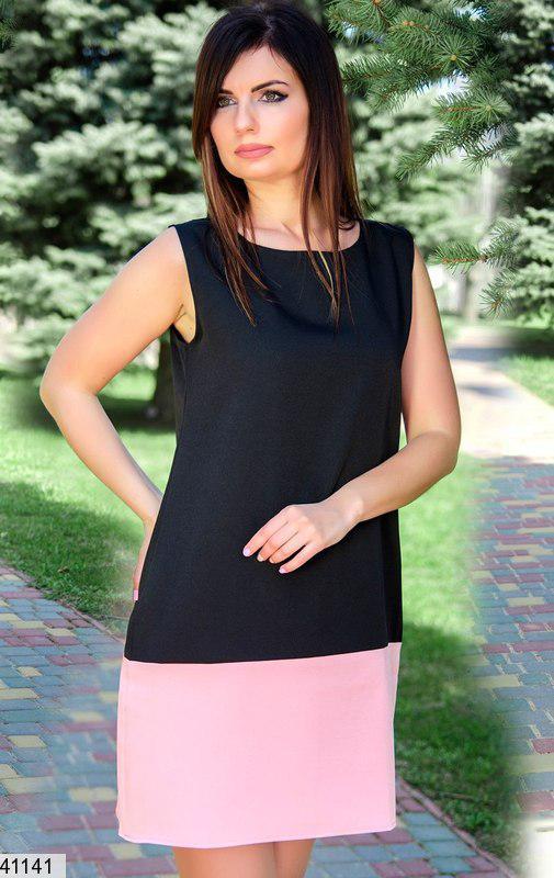 Модное платье короткое свободного кроя без рукав черное с розовым