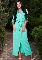 Ментоловое длинное платье рубашка Д-223
