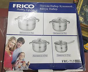 Набор кастрюль со стеклянными крышками FRICO FRU-713 (8 предметов) 2,9 / 3,9 / 6,5 л. + ковшик 2,1 л., фото 2