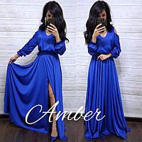 Шелковое длинное платье с разрезом на ноге и рукавах 8031379, фото 1
