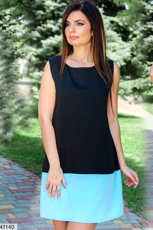 Строгое платье выше колен двухцветное прямого кроя бирюзовое