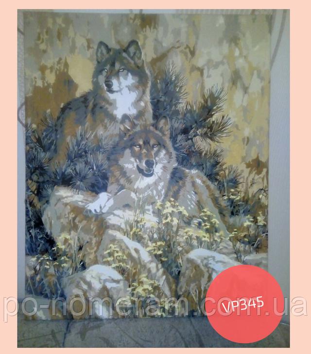 Картина по номерам волки нарисованная работа