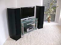 """Тумба ТВ стеклянная на хромированных ножках Maxi ES 1070  """"прозрачный"""" стекло, хром, фото 1"""