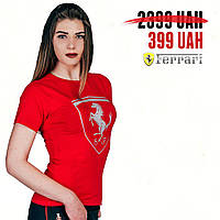 Футболка женская PUMA Ferrari Big Shield Tee Cabernet Medium Gray Heather Moonless Night Rosso Corsa (Реплика)