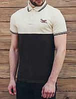 Мужская коричневая футболка поло Staff brown and beige, фото 1