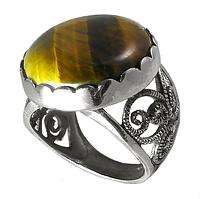 Тигровый глаз, мельхиор кольцо, фото 1