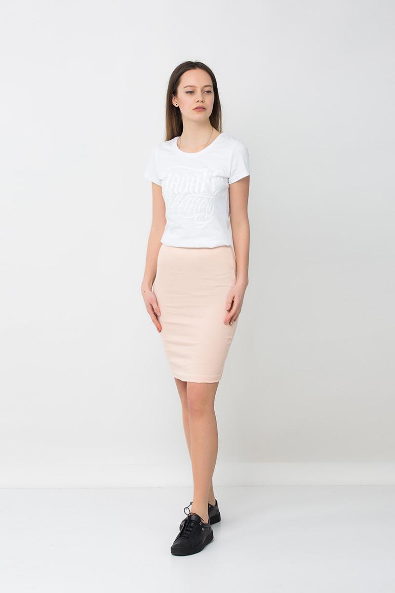 Модная юбка карандаш бежевая PUDRA Urban Planet (юбочка, юбки, жіноча