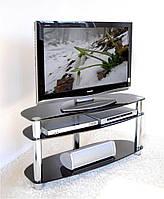 """Тумба ТВ стеклянная на хромированных ножках Maxi DXS 1070  """"черный"""" стекло, хром, фото 1"""