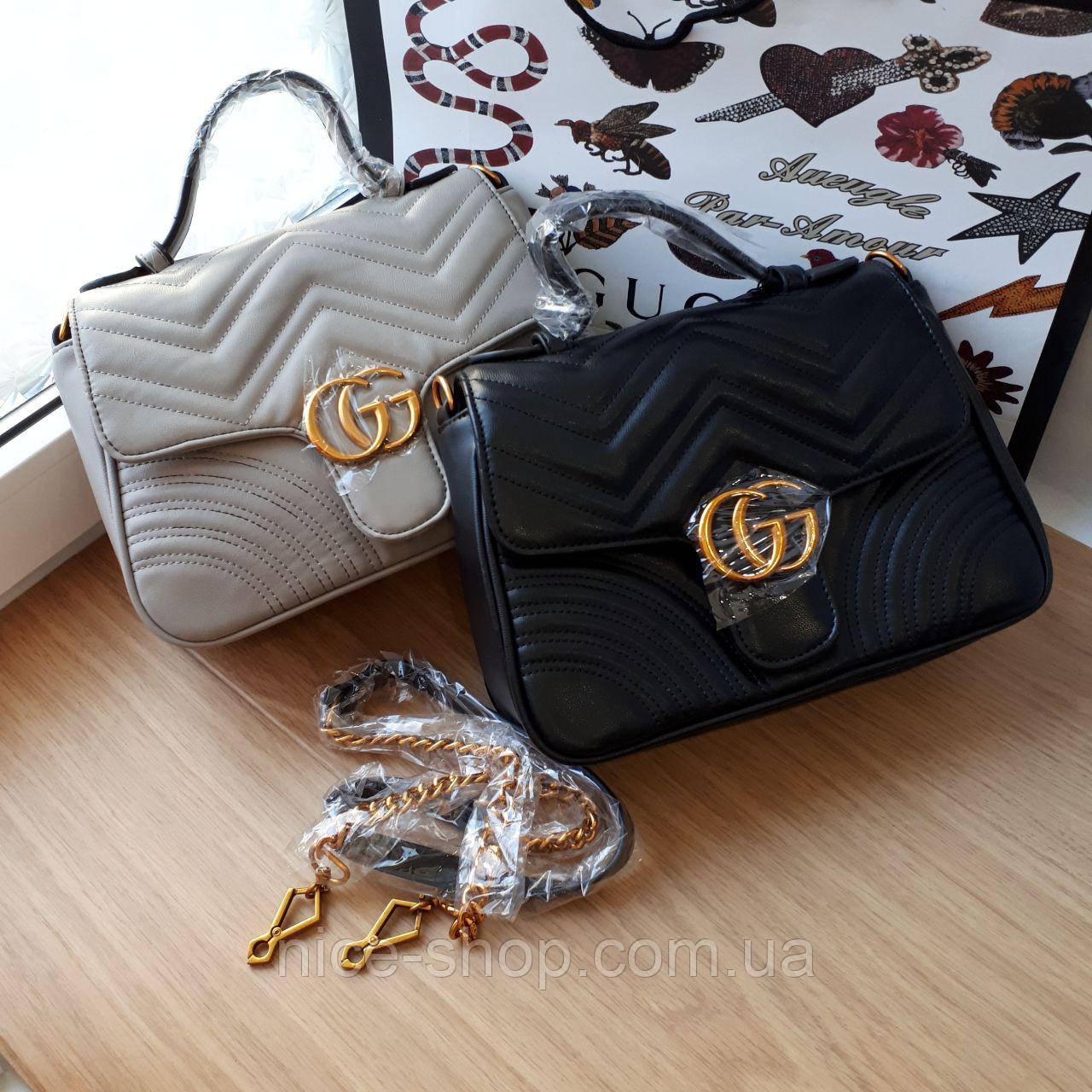 Сумочка  Gucci  черная, эко-кожа
