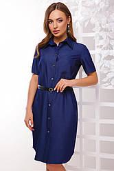 Стильное летнее платье-рубашка до колен на пуговицах с поясом короткий рукав цвет джинс