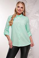 Женская легкая классическая блузка-рубашка мятного цвета большие размеры