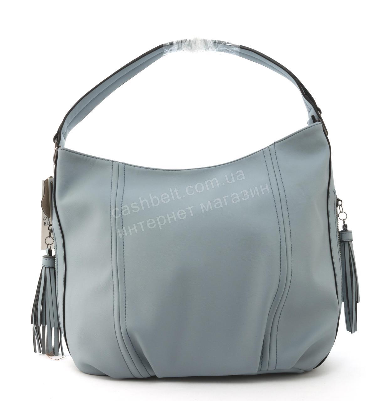 Вместительная прочная модная сумка из эко кожи высокого качества GERNAS art. G-Y17649 голубой