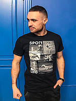 Молодежная мужская спортивная футболка с оригинальным принтом черная
