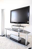"""Тумба ТВ стеклянная на хромированных ножках Maxi DR 1125  """"прозрачный"""" стекло, хром, фото 1"""