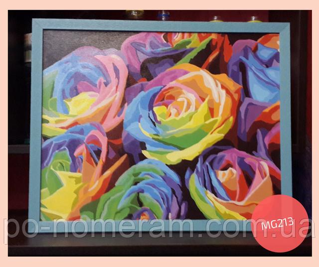 Нарисованная картина радужные розы