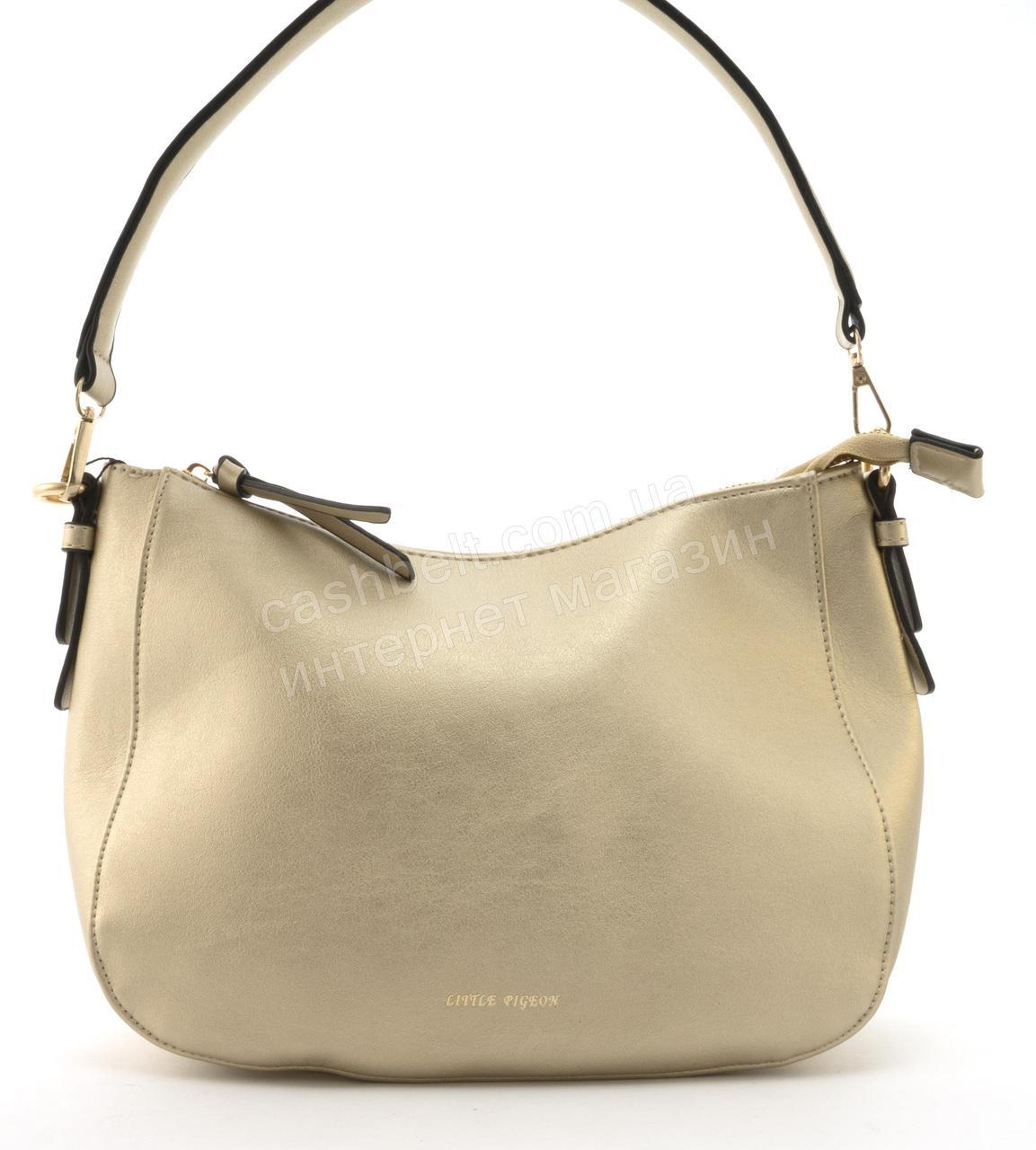 Качественная стильная сумка с эко кожи высокого качества Little Pigion art. T29 золотистая