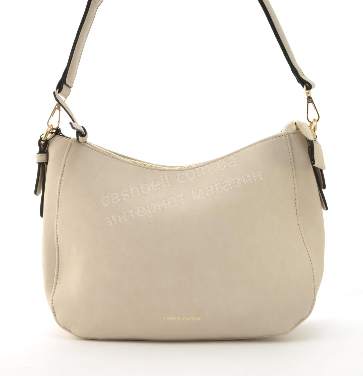 Качественная стильная сумка с эко кожи высокого качества Little Pigion art. T29 бежевая