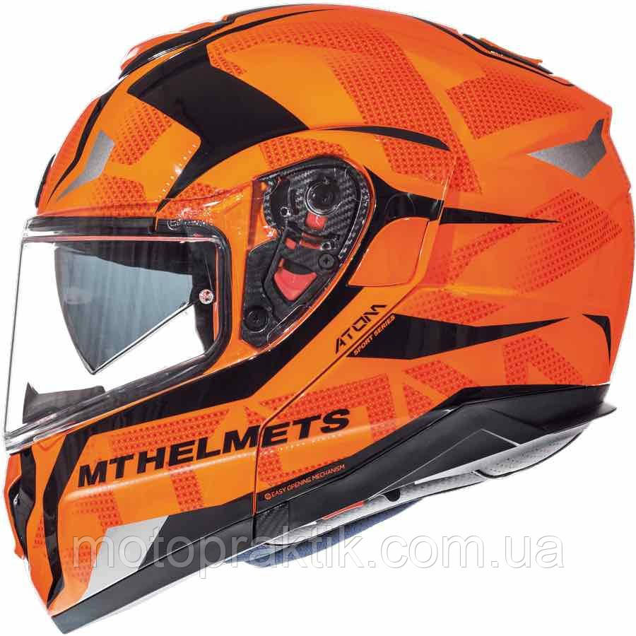 MT Atom SV DIVERGENCE G1 GLOSS FLUOR ORANGE, XS, Мотошлем модуляр
