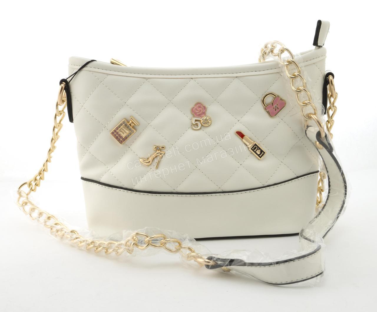 Небольшая вместительная женская сумочка из эко кожи Little Pigion art. 7-1 белая