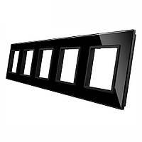 Рамка для розетки Livolo 5 постов | цвет черный, материал стекло