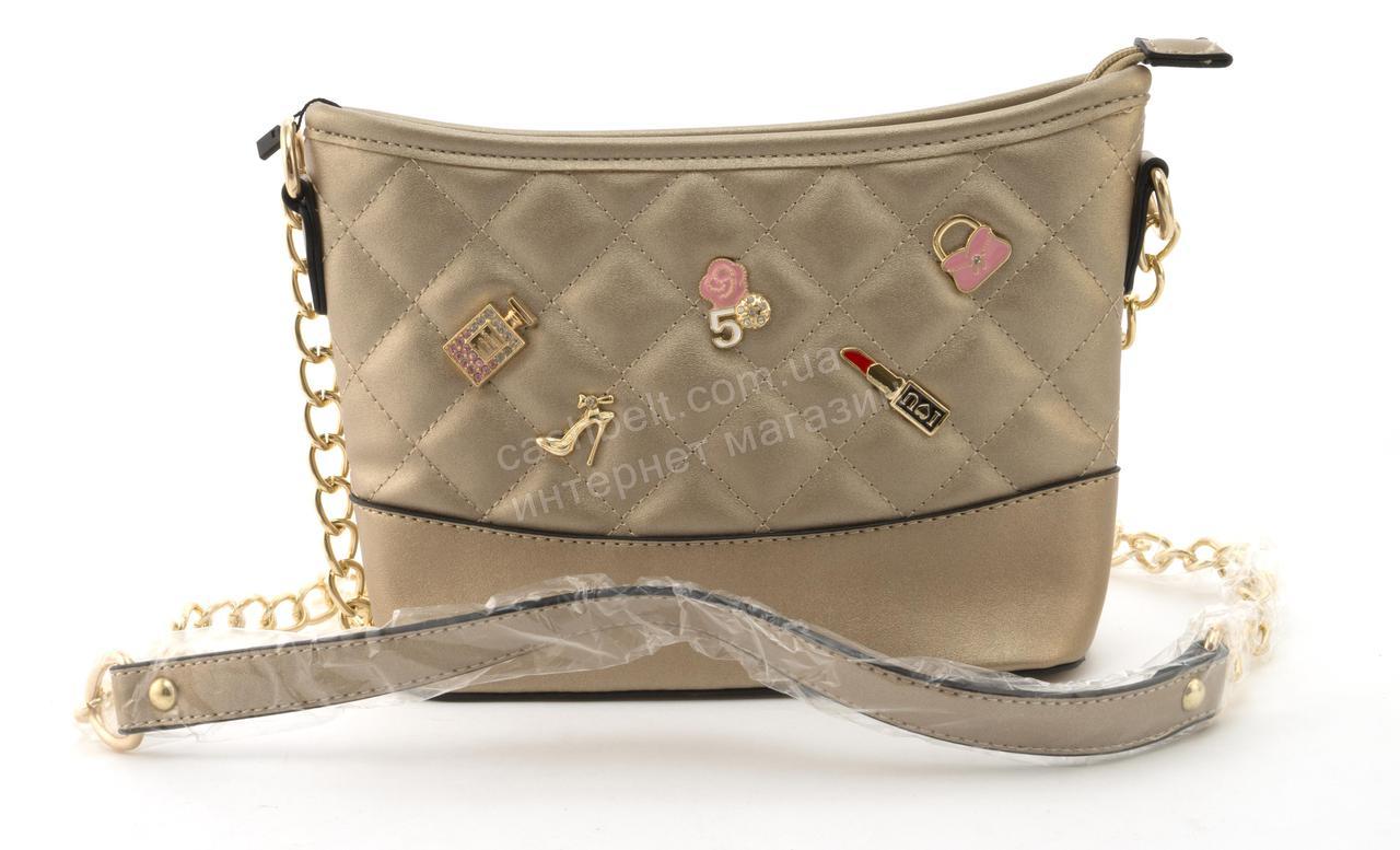 Небольшая вместительная женская сумочка из эко кожи Little Pigion art. 7-1 золотистая