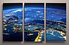 Картина модульная печать на холсте Космос Планет Звезды Вид из космоса Ночная планета 90х60 из 3-х