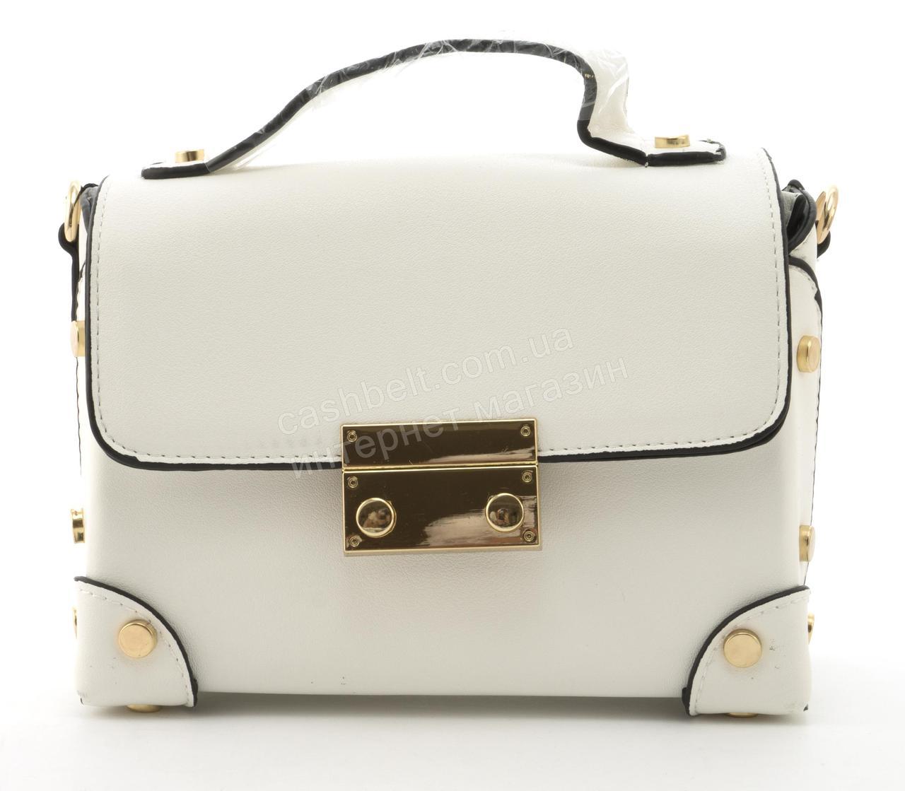 Небольшая вместительная женская каркасная сумочка из эко кожи Little Pigion art. Q008 белая