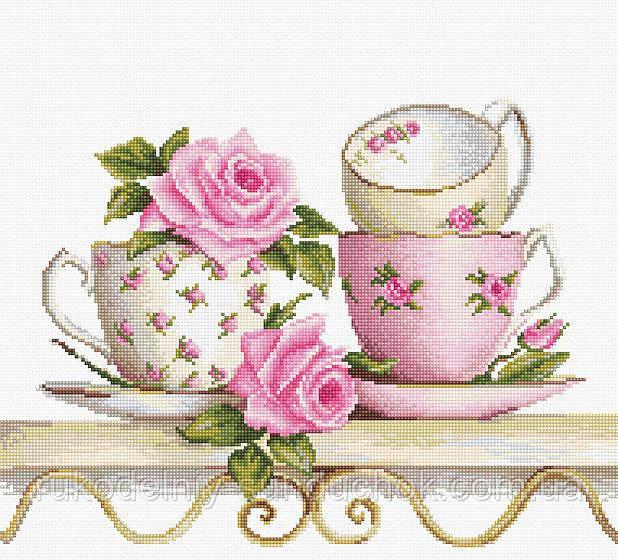"""Набор для вышивания крестом """"Luca-s"""" B2327 Чайные чашки с розами"""
