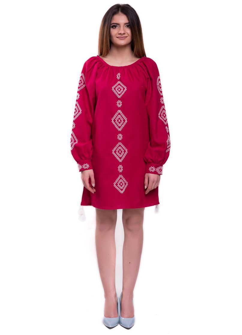 Вышитое Платье Ручной Работы Бордового Цвета — в Категории