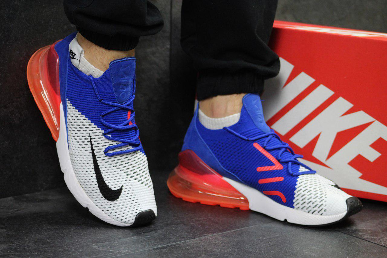 Кроссовки мужские Nike Air Max 270 яркие модные сетка +пена (синие с белым), ТОП-реплика