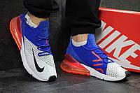 Кроссовки мужские Nike Air Max 270 яркие модные сетка +пена (синие с белым), ТОП-реплика, фото 1