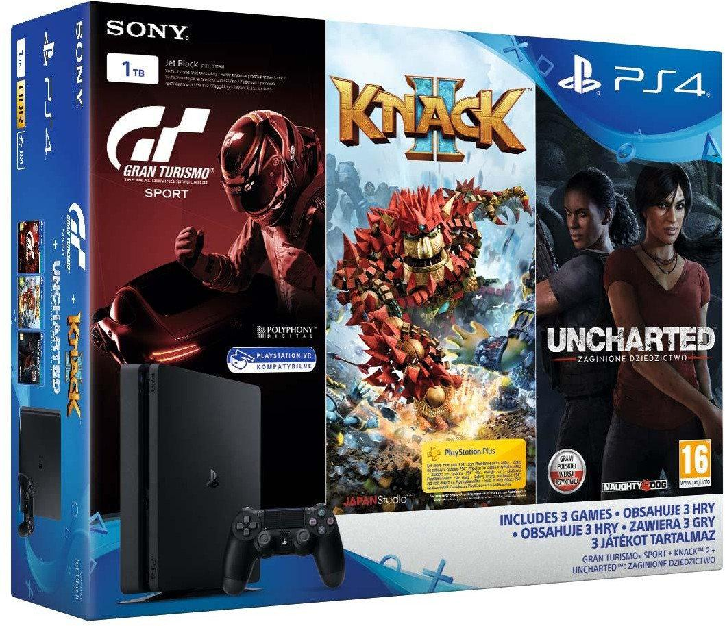 SONY PS4, 1 TB, Black, Slim, +GTS +Uncharted Lost Legacy+Knack2