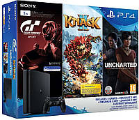 SONY PS4, 1 TB, Black, Slim, +GTS +Uncharted Lost Legacy+Knack2, фото 1