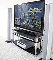 """Тумба ТВ стеклянная на хромированных ножках Maxi DXDX 1125 NX """"прозрачный"""" стекло, хром, фото 1"""