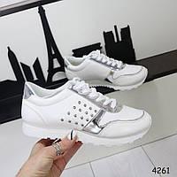 Кроссовки женские белые с серебром 4261