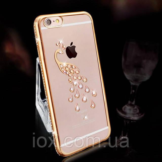 Золотистый силиконовый чехол Павлин с камнями Сваровски для Iphone 6