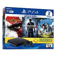 SONY PS4, 500GB, Black, Slim, +Horizon Zero Dawn+Uncharted4+God of War +90D PP