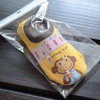 Носки - следы антискользящие Dear Baby Желтые с обезьянкой
