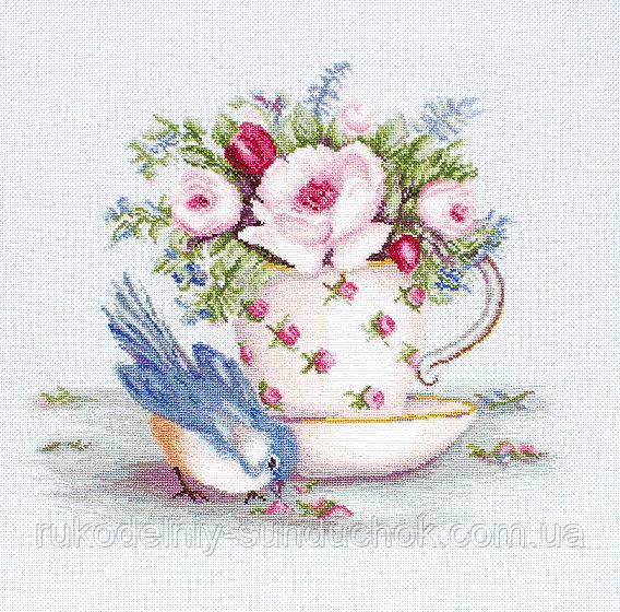 """Набор для вышивания крестом """"Luca-s"""" BA2324 Птичка и чашка чая"""