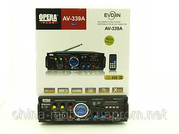 Усилитель звука Opera Plus AV-339A 100W  max 160W  с Bluetooth Karaoke FM MP3