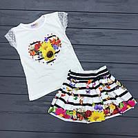 Нарядный Комплет юбка и футболка для девочек оптом р.3-4, 9-10 лет