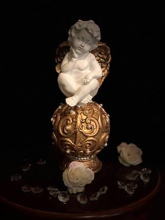 """Ангел гипсовый """"На шаре барокко"""", золото, фото 2"""