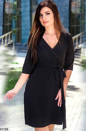 Деловое платье мини полу облегающее рукав до локтя черное, фото 2
