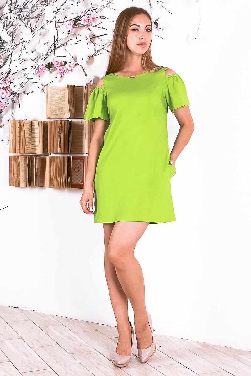 fc72c473342f99e Летнее льняное женское платье салатовое р.44-46 Y228-7, цена 399 грн ...